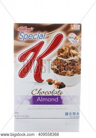 IRVINE, CA - JUNE 2, 2015: A box of Special K Chocolate Almond Cereal. Special K cereals, from Kellogg's of Battle Creek, Michigan, are  a low-fat cereal that can be eaten to help one lose weight.