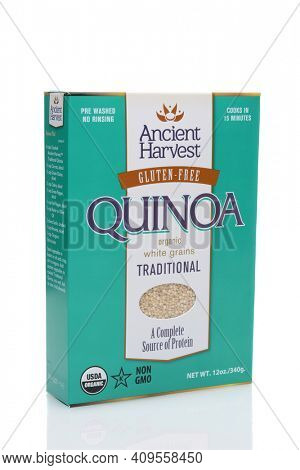 IRVINE, CALIFORNIA - JULY 14, 2014: A box of Ancient Harvest Quinoa. Quinoa is a South American grain known as The Mother Grain to Bolivians and is naturally Gluten Free.