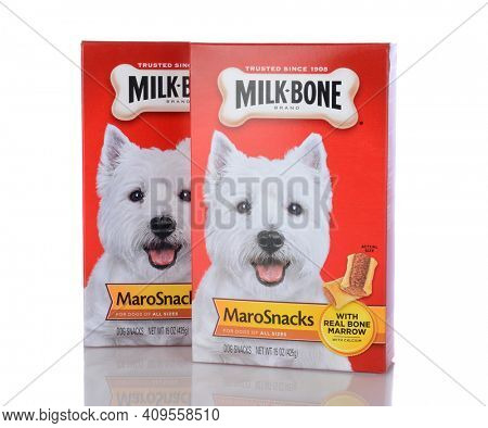 IRVINE, CA - January 05, 2014: Two 15 oz boxes of Milk Bone MaroSnacks. Milk-Bone, a division of Del Monte Foods, has been making dog snacks for over 100 years.