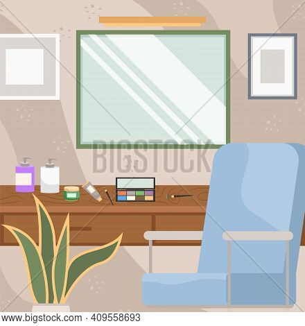 Dressing Table With Mirror And Cosmetic Products. Female Boudoir For Applying Makeup Vector Illustra