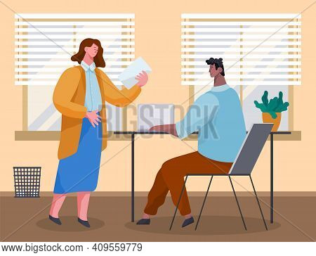 Office Workers Discussing Document. Business People Dressed In Casual Clothes In Office Interior Wit