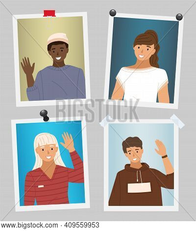 Set Of Pictures About People Wave Hands. Female Character Shows Greeting Gesture With Hand. Boy In S