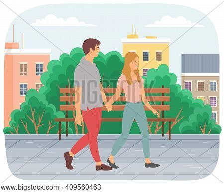 Couple Walking Down The Street. Young Guy And Girl Holding Hands, Walking In Summer Day In City Park