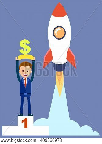 New Start Up With Businessman Happy Winner Stands On Podium Holding Dollar In His Hands Overhead. Di