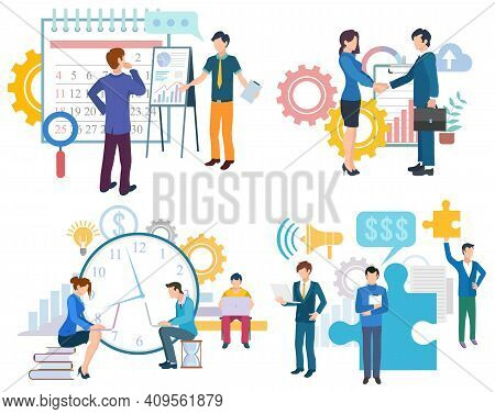 Business Partnership, Deadline Teamwork, Man And Woman Collaboration. Brainstorming Innovation, Grow