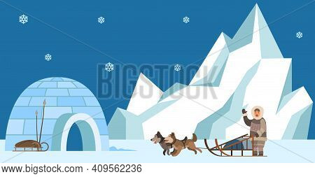 Eskimo Harnesses Dog For Sleigh Rides And Waves His Hand. Igloo Indigenous Person Prepares To Travel