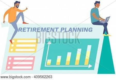 Businessman With Laptop Giving Presentation Of Retirement Plan With Growing Rates. Pension Savings A