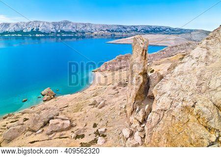 Metajna, Island Of Pag. Famous Beritnica Beach In Stone Desert Amazing Scenery Aerial View, Dalmatia