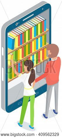 Persons Choose Books In Online Library Or Bookstore, Man And Woman Stand Near Bookshelves With Stack