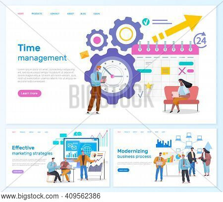 Effective Marketing Strategies, Time Management, Modernizing Business Process Web Pages Template. Mo