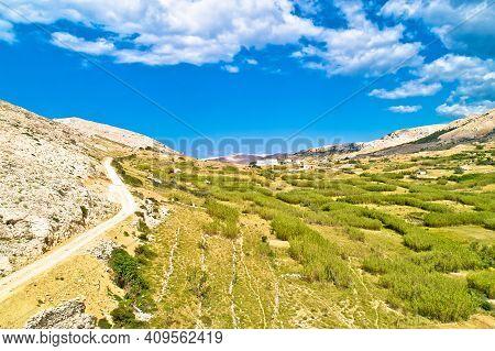 Metajna, Island Of Pag. Stone Desert Amazing Scenery Aerial View, Dalmatia Region Of Croatia
