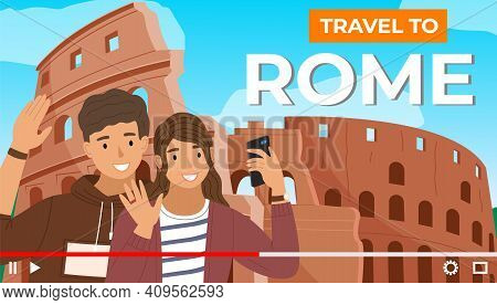 Pretty Couple On The Background Of Coliseum. Young People Travel Italy, Visit Architectural Monument