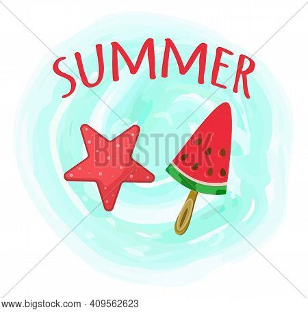 Hello Summer Card With Handdrawn Red Lettering On Blue Wooden Background With Watermelon And Sea Sta