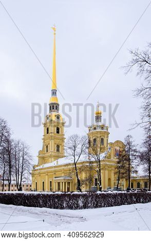 St. Petersburg, February 21, 2021. View Of The Peter And Paul Cathedral Of The Peter And Paul Fortre