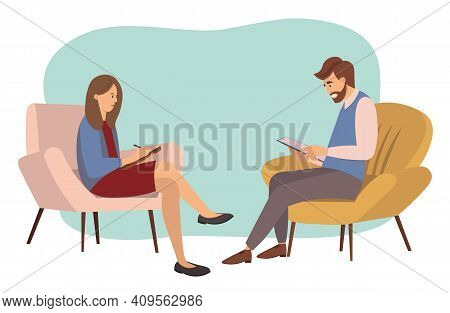 Psychotherapy Counseling Concept. Psychologist Woman And Young Man Patient In Therapy Session. Treat