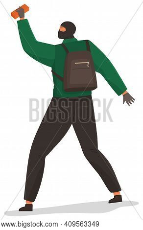 An Aggressive Man With A Brick In Hand Isolated On White Background. Problems Of Urban Security. Cri