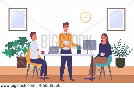 Businessmen Dressed In Formal Clothes Are Sitting At The Table With Laptop And Talking. Office Worke