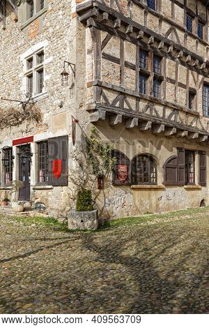 Perouges, France, February 23, 2021 : The Hostellerie, An Old Restored Inn In Perouges. The Town Was