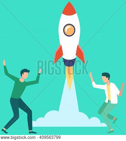 Men Launch Aircraft Into Space. Rocket Takes Off And Leaves Cloud. Guy Are Rejoicing At Successful F