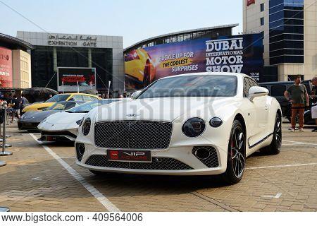 Dubai, Uae - November 16: The Bentley Continental Gt Sportscar Is On Dubai Motor Show 2019 On Novemb
