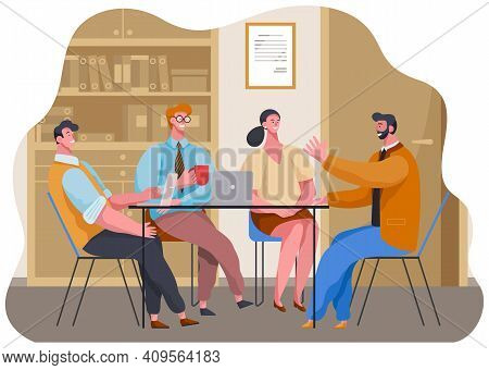 Businesswoman And Businessmen Talking, Drinking Coffee, Tea Break Time In Office Workspace With Lapt