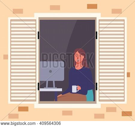 Girl Next To The Computer Looks Out The Window. Woman Drinking Tea On Balcony Of Her House. Female C