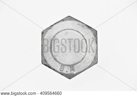 Galvanized Steel Metal With Metric Bolt, 8.8 Quality Bolts, Isolated On White Background