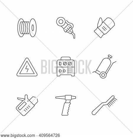 Set Line Icons Of Welding Isolated On White. Robotic Equipment, Wire, Protective Mitten, Apparatus,