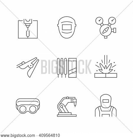 Set Line Icons Of Welding Isolated On White. Robotic Equipment, Protective Goggles And Mask, Electro