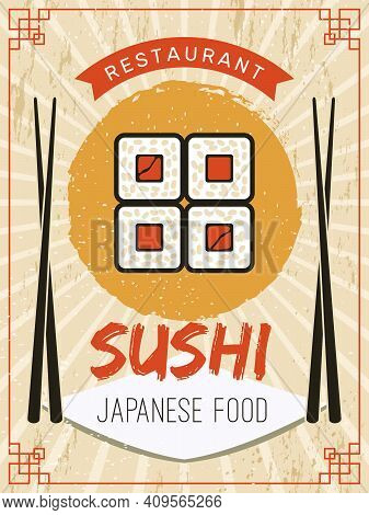 Sushi Poster. Retro Flyer Or Placard Template Stylized Pictures Of Seafood Salmon Fishes Rice With S