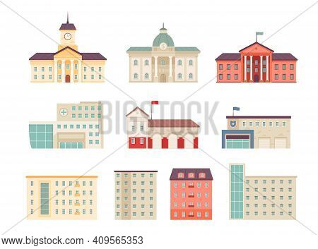 Municipal Buildings. Government Houses City Library Hospital Bank Supermarket Campus Urban Buildings