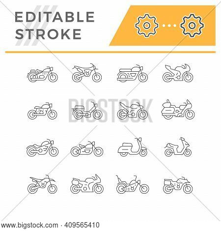 Set Line Icons Of Motorcycle Isolated On White. Modern And Retro Scooter. Different Types Of Motorbi