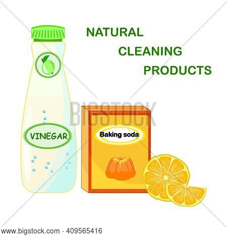 Natural Cleaning Products. Vinegar, Lemon, Baking Soda Isolated On White Background. Eco Friendly Pr