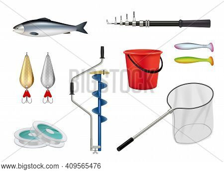 Fishing. Camping Recreation Items Hooks Spinner Fishing Rod Butterfly Decent Vector Realistic Pictur