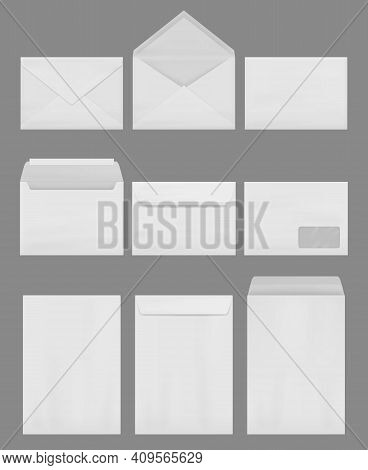 Envelope Mockup. Empty Blank Business Envelopes For A4 Correspondence Office Decent Vector Realistic