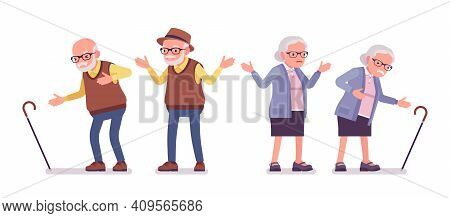Old People, Elderly Man, Woman With Cane Having Heart Pain. Senior Citizens, Retired Grandparents, A