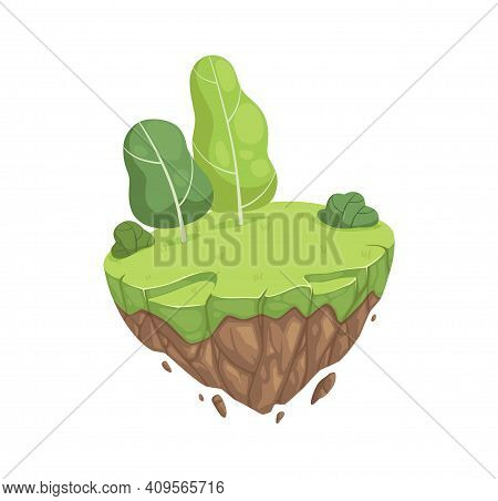 Cartoon Spring Park. Isometric Garden Location, Isolated Stone Island With Green Meadow And Trees. S