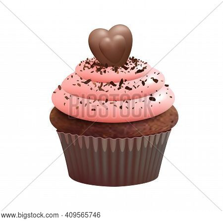 Cupcake With Choco Heart. Isolated Muffin, Chocolate Bake Dessert. Sweet Cream Food, Realistic Biscu