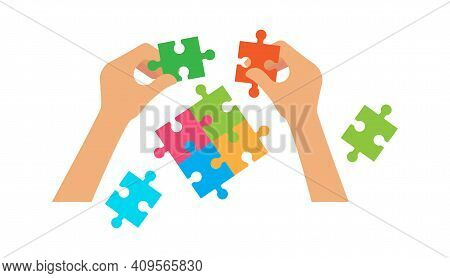 Hands Hold Puzzle. Hr Or Collaboration Concept, Home Simple Game. Family Evening, People Collect Par