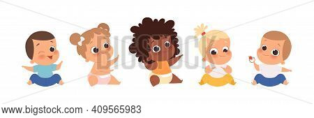 Baby Group, Multiethnic Babies Sitting. Isolated Cartoon Cute Toddlers Vector Set. Child Girl And Bo