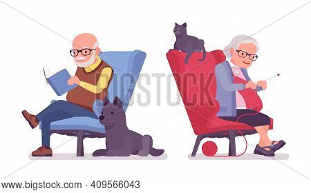 Old People, Elderly Man, Woman Resting In An Armchair. Senior Citizens, Retired Grandparents, Old-ag