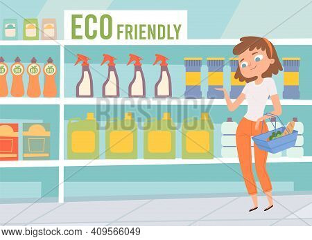 Eco Friendly Cleaners. Women Choose Cleaning Products In Supermarket. Non Chemical Organic Goods On
