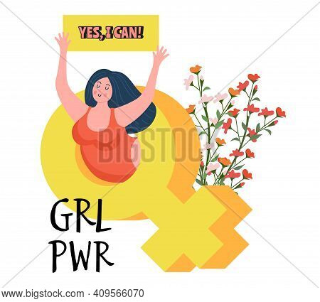 Girl Power Concept. Young Woman In Feminine Symbol Holding Banner. Protest Or Feminism Vector Metaph