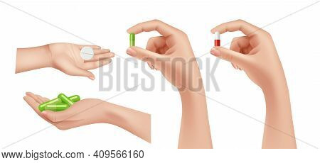 Painkillers In Hands. Medications, Hand Holding Pills Or Drugs Capsules. Pharmacy Vector Elements. I