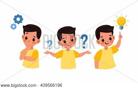 Kid Searches Idea Process. Boy Solves Challenge, Student Child In Thinking Process, Question Mark, G