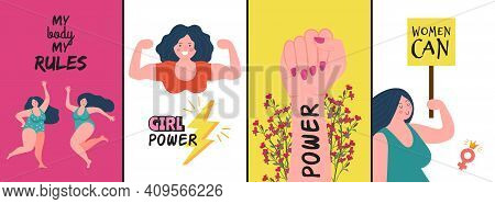 Women Posters. Strong Woman, Girl Power Covers Or Cards. Female Characters With Positive Slogan Vect