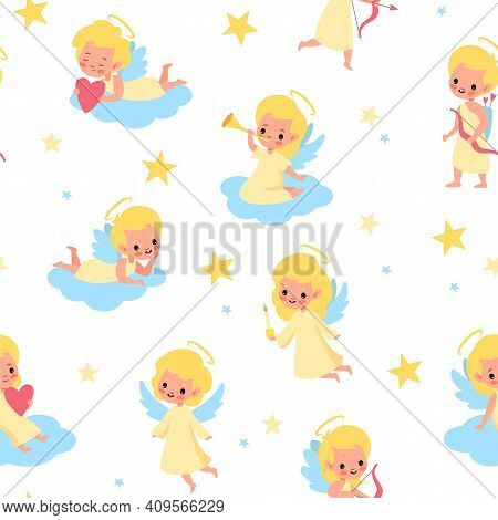 Sweet Angels Seamless Pattern. Babies With Wings Pastel Colors, Children On Clouds, Little Blond Ang