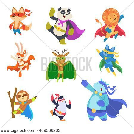 Hero Animals. Zoo Strong Defenders City Superheroes In Mask Cats Dogs Elephants Exact Vector Flat Ch