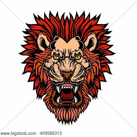 Lion Head Mascot. Grin Of A Predator. Vector Illustration For Use As Print, Poster, Sticker, Logo, T