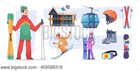 Ski Resort. Christmas Winter Village Snow Activities In Alps Holiday Landscape Trails In Mountain Ex
